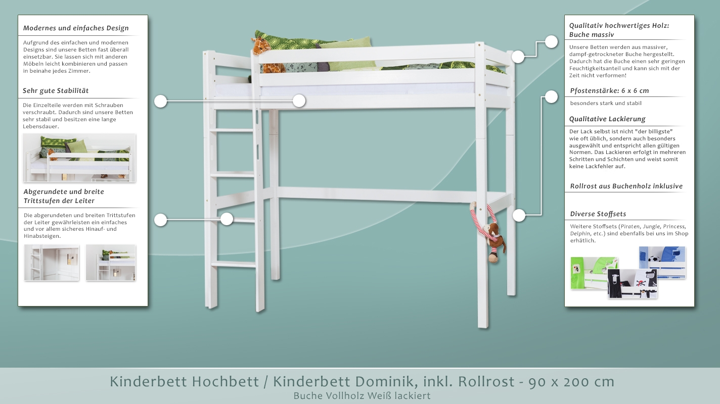 kinderbett hochbett kinderbett dominik buche vollholz. Black Bedroom Furniture Sets. Home Design Ideas