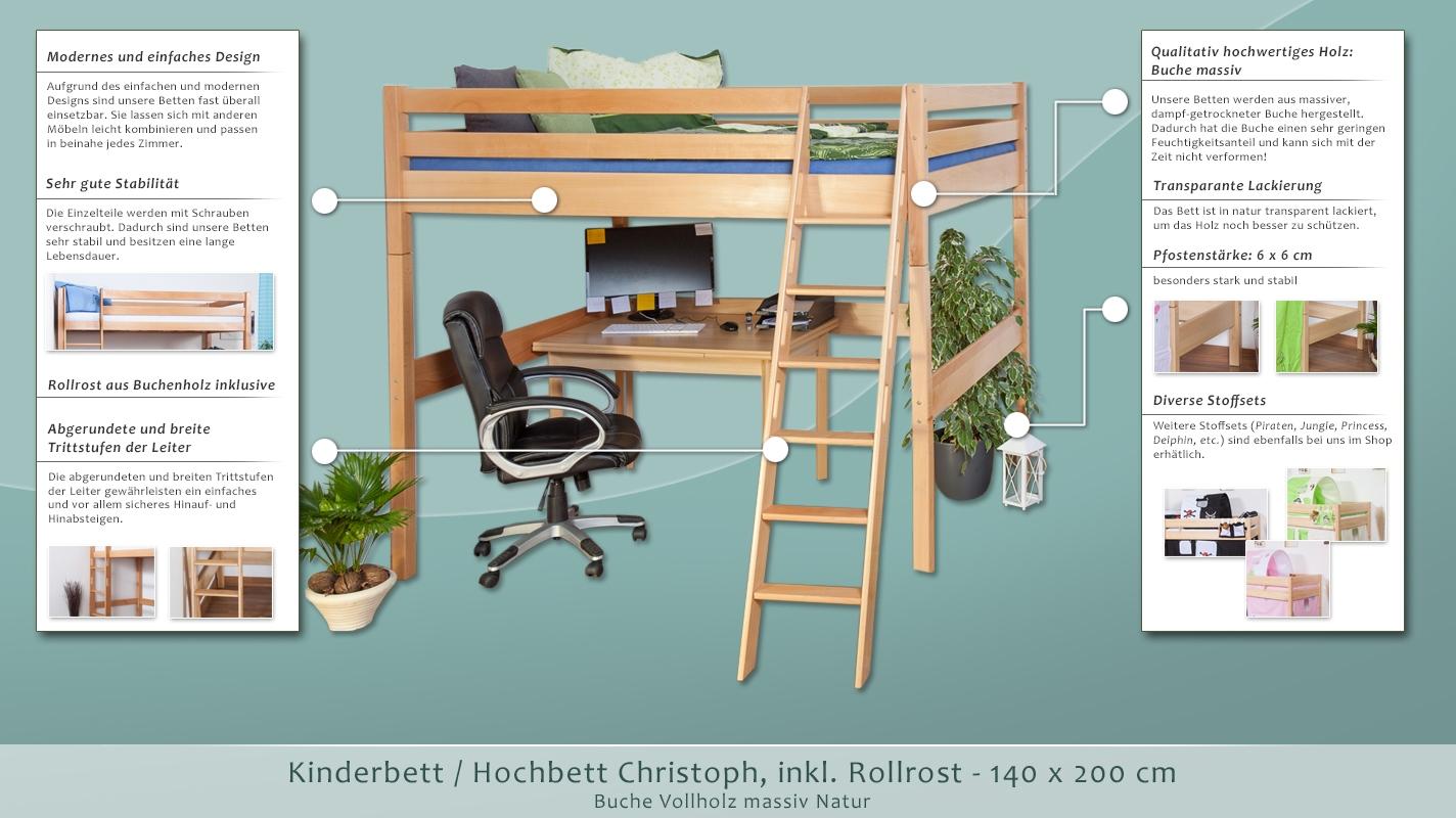kinderbett hochbett christoph buche vollholz massiv natur. Black Bedroom Furniture Sets. Home Design Ideas