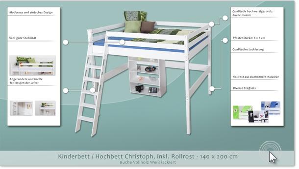 hochbett christoph buche vollholz massiv wei lackiert. Black Bedroom Furniture Sets. Home Design Ideas