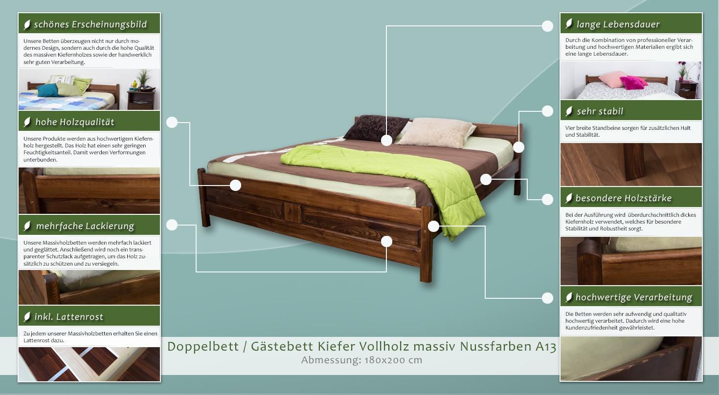 Inkl Lattenrost Jugendbett Kiefer Vollholz Massiv Nussfarben
