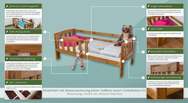 Kinderbett Mit Absturzsicherung Kiefer Vollholz Massiv