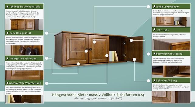 Hängeschrank Kiefer Vollholz Massiv Eichefarben 024 Abmessung 50 X 120 X 60 Cm H X B X T