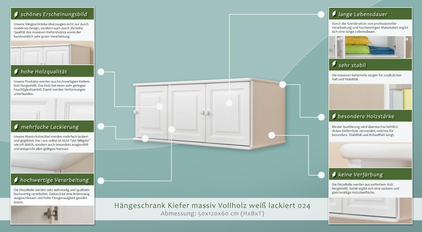 Hängeschrank Kiefer Vollholz Massiv Weiß Lackiert 024 Abmessung 50 X 120 X 60 Cm H X B X T