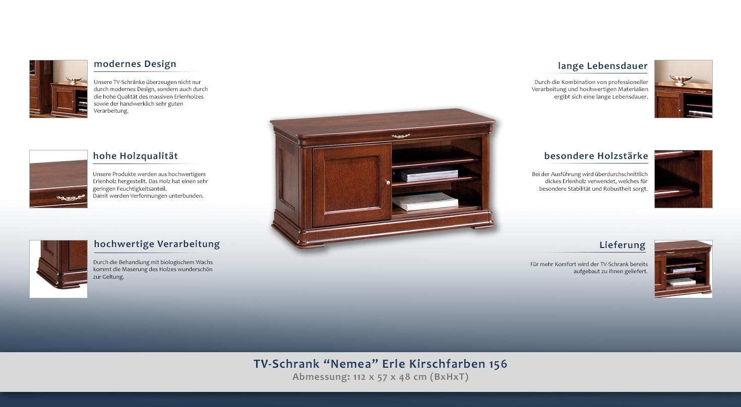 TVSchrank Nemea Erle Kirschfarben 156, teilmassiv  # Tv Schrank Erle