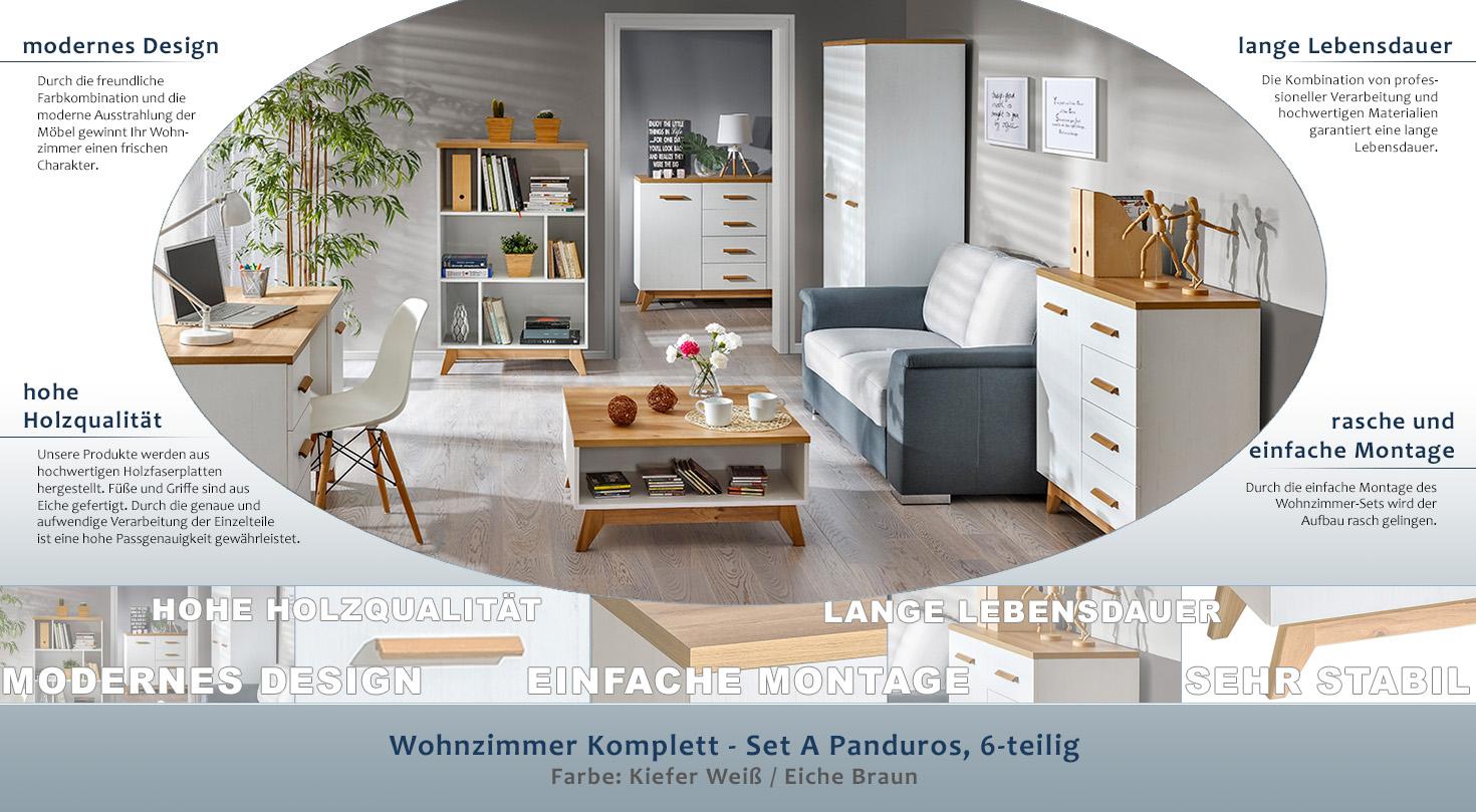 Wohnzimmer Komplett - Set A Panduros, 6-teilig, Farbe: Kiefer Weiß ...