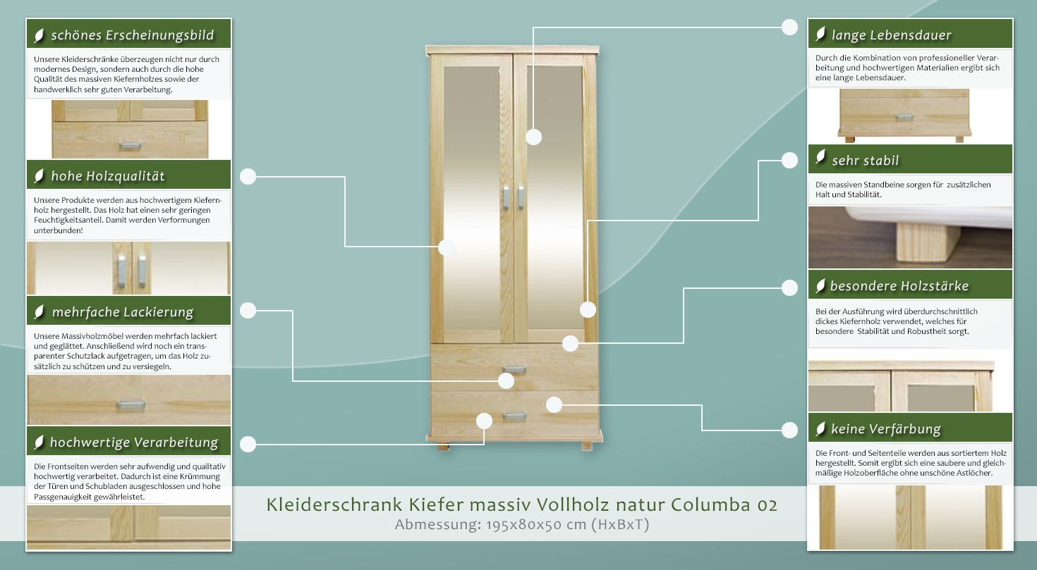 kleiderschrank kiefer 80 cm breit 499 3383 h rm. Black Bedroom Furniture Sets. Home Design Ideas