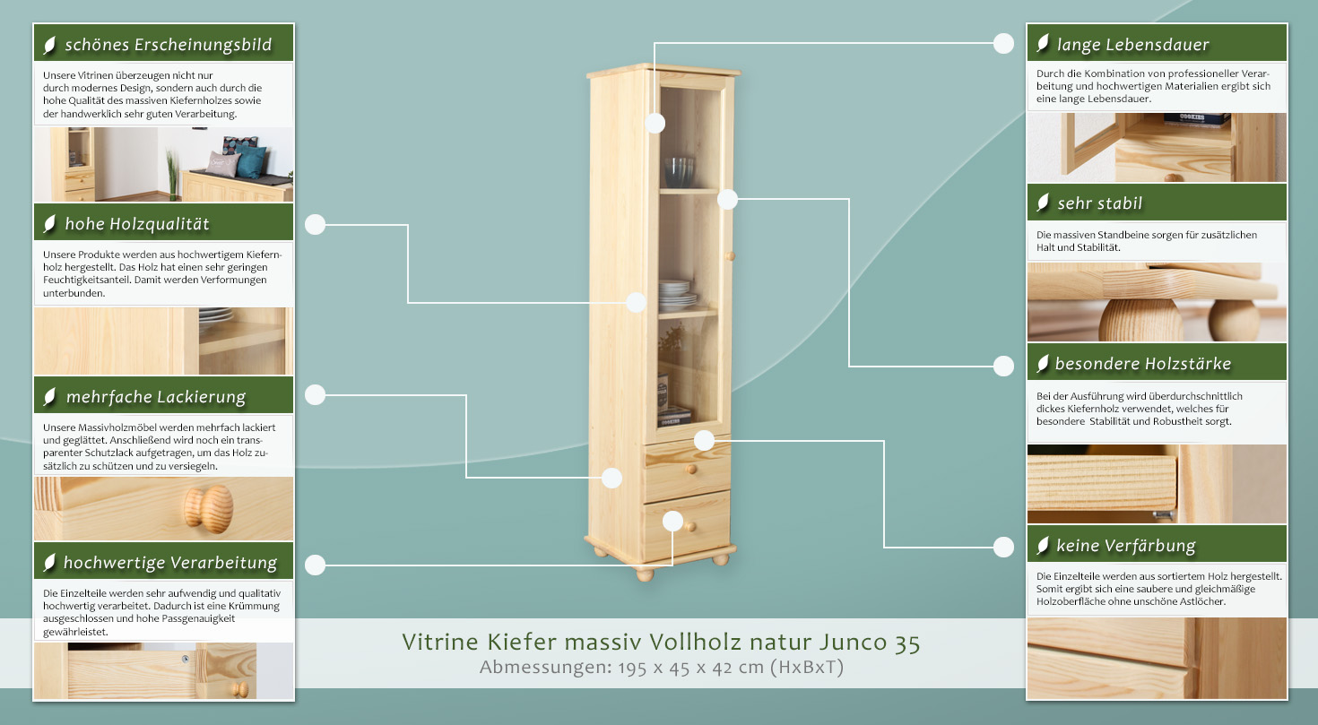 b chervitrine vitrine kiefer massivholz farbe natur t ren 1 h he cm 195 l nge tiefe. Black Bedroom Furniture Sets. Home Design Ideas