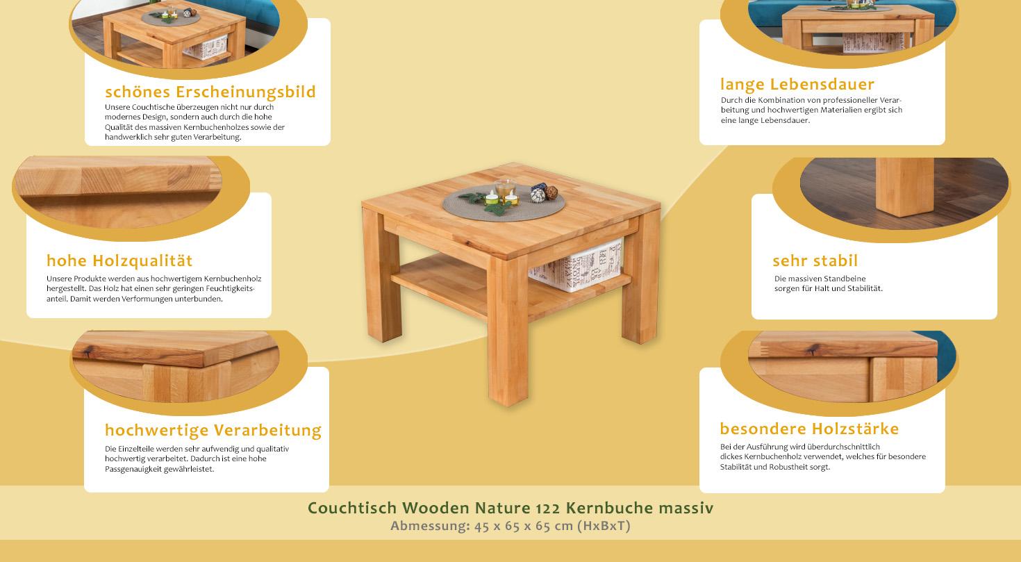 Couchtisch Wooden Nature 122 Kernbuche Massiv 45 X 65 X 65 Cm H X