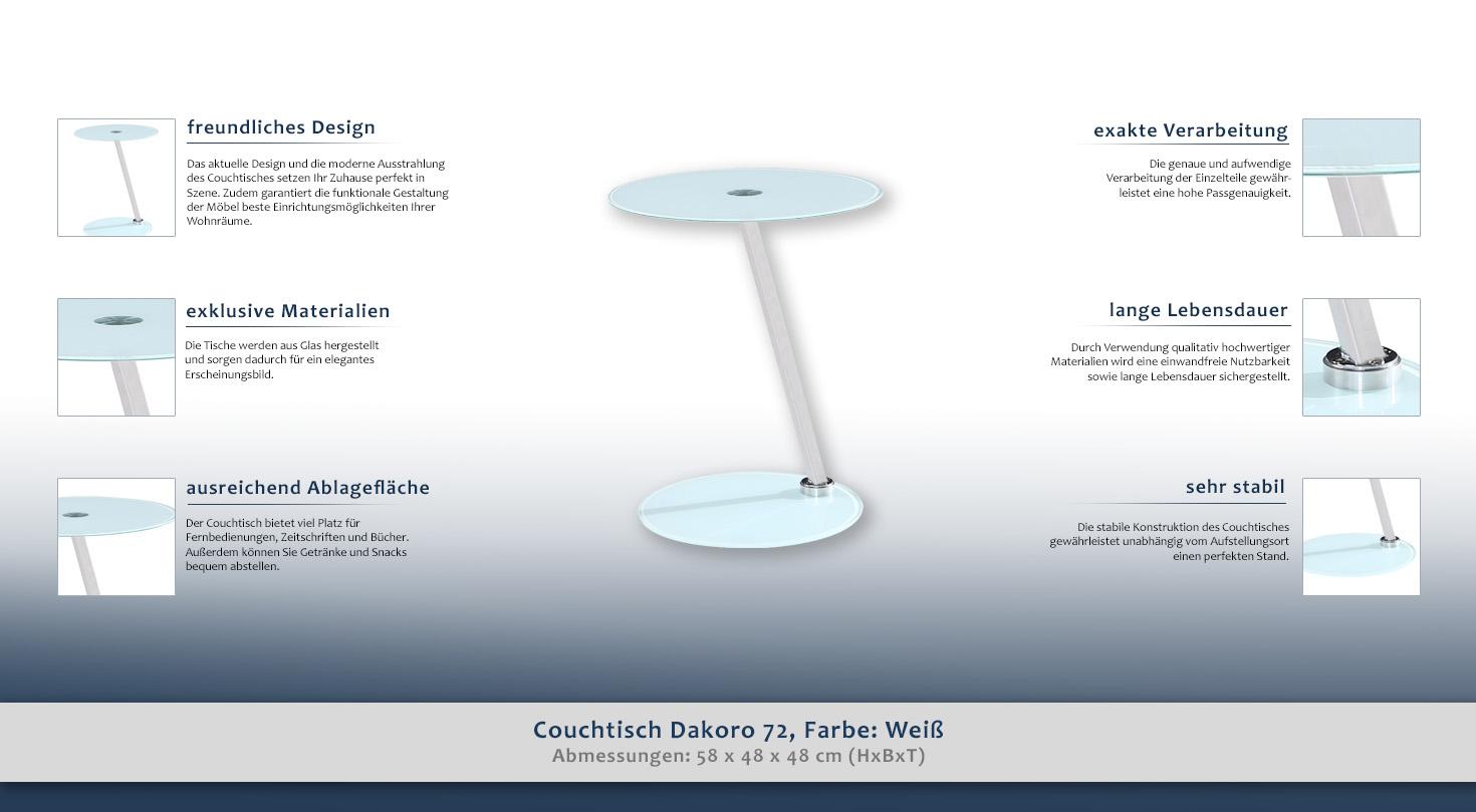 beistelltisch couchtisch farbe wei 58x48x48 cm h he cm. Black Bedroom Furniture Sets. Home Design Ideas