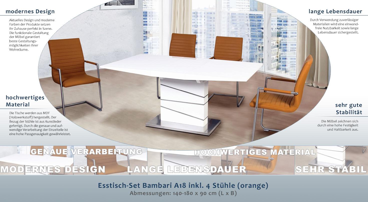 Esstisch-Set Bambari A18 inkl. 4 Stühle (orange) - 140 - 180 x 90 (L ...