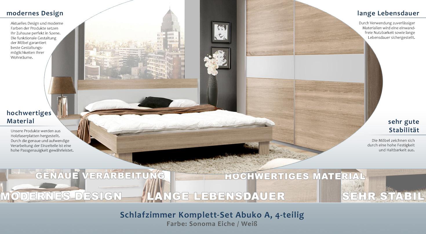 Schlafzimmer Komplett Set Abuko A 4 Teilig Farbe Sonoma Eiche