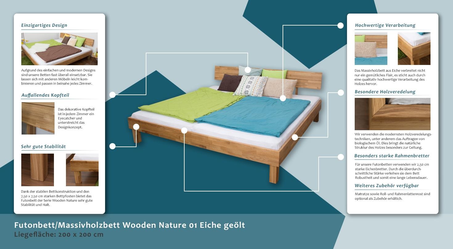 40b397bcfc Holzbett Bettgestell Eiche 200 x 200 cm geölt, Höhe (cm) 78,5, Länge ...