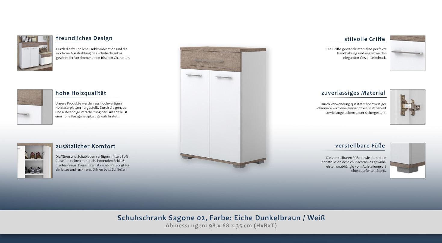 schuhschrank farbe dunkelbraun 98x68x35 cm t ren 2 h he cm 98 l nge tiefe cm 35 breite. Black Bedroom Furniture Sets. Home Design Ideas