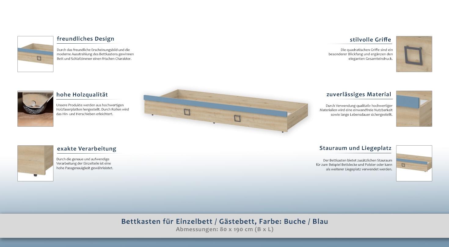 einzelbett mit bettkasten buche, bettkasten für einzelbett / gästebett, farbe: buche / blau - 80 x, Design ideen