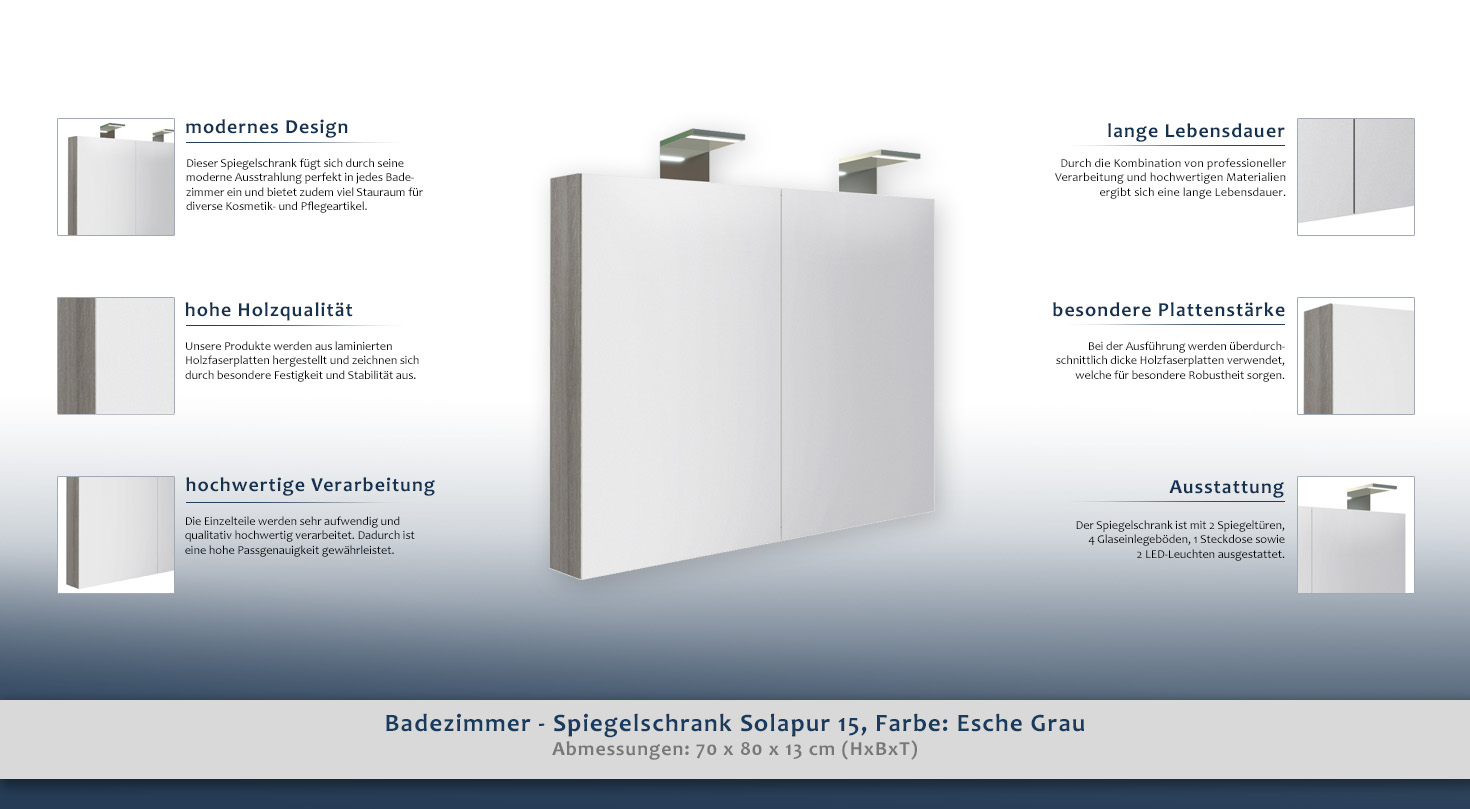 Badezimmer Spiegelschrank Solapur 15 Farbe Esche Grau 70 X 80 X 13 Cm H X B X T