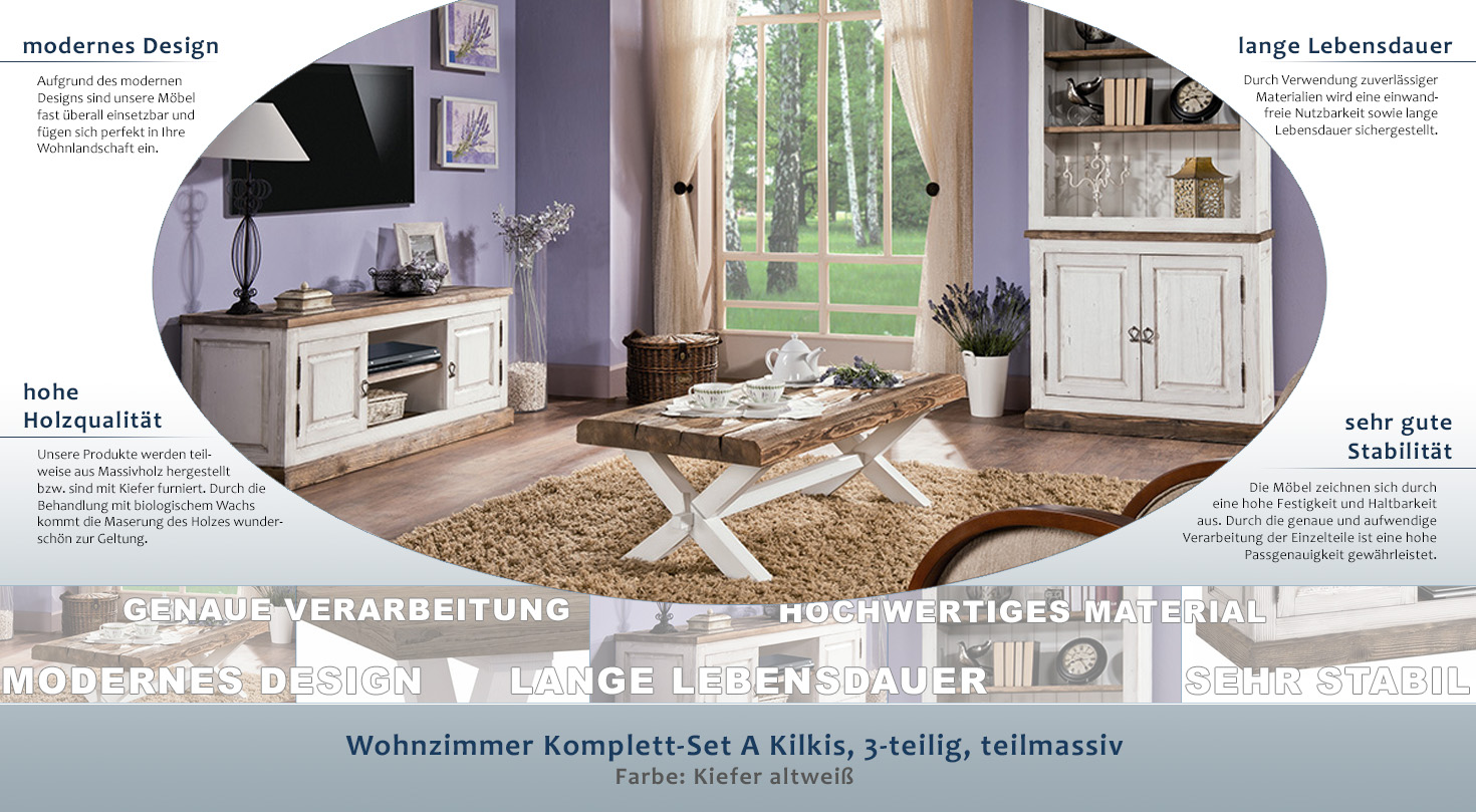 wohnzimmer komplett set a kilkis 3 teilig teilmassiv. Black Bedroom Furniture Sets. Home Design Ideas