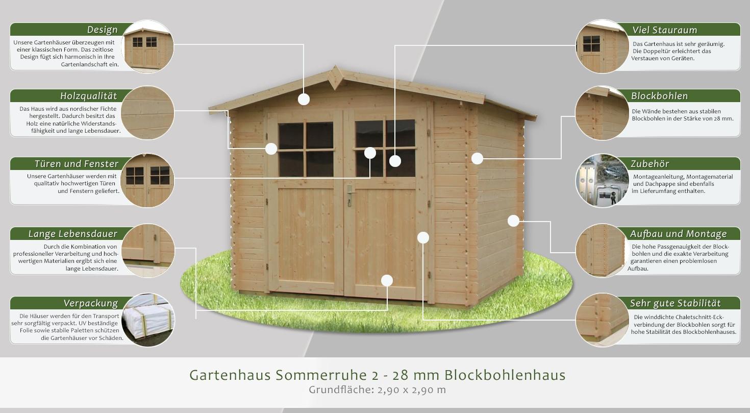 gartenhaus sommerruhe 2 2 90 x 2 90 meter aus 28 mm. Black Bedroom Furniture Sets. Home Design Ideas