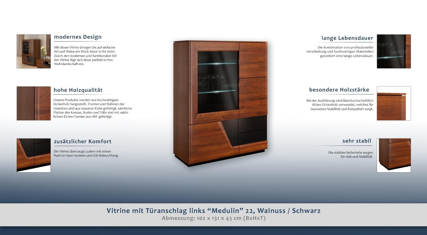 vitrine mit t ranschlag links medulin 22 farbe walnuss. Black Bedroom Furniture Sets. Home Design Ideas