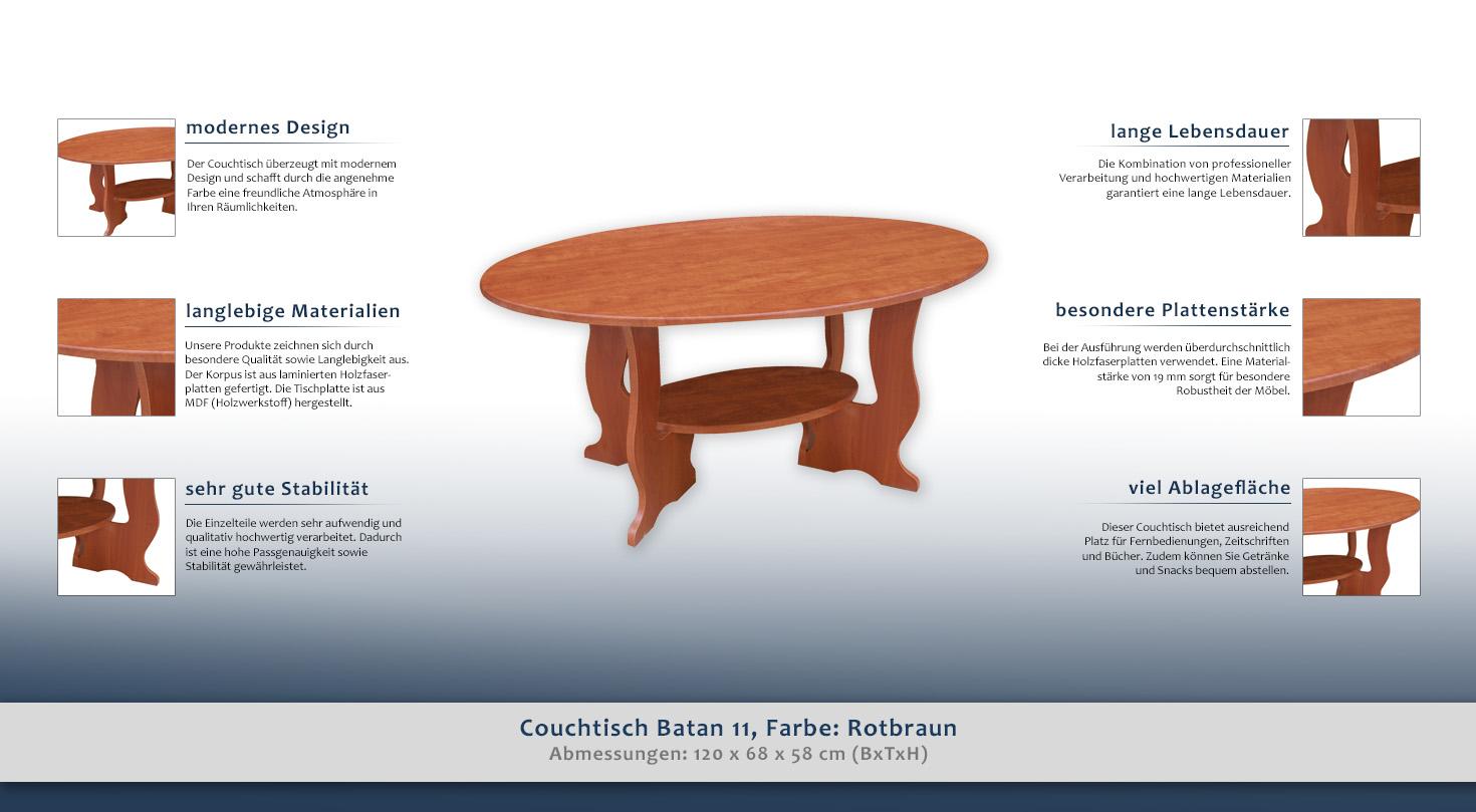 couchtisch farbe braun 58x120x68 cm wohnzimmerm bel. Black Bedroom Furniture Sets. Home Design Ideas