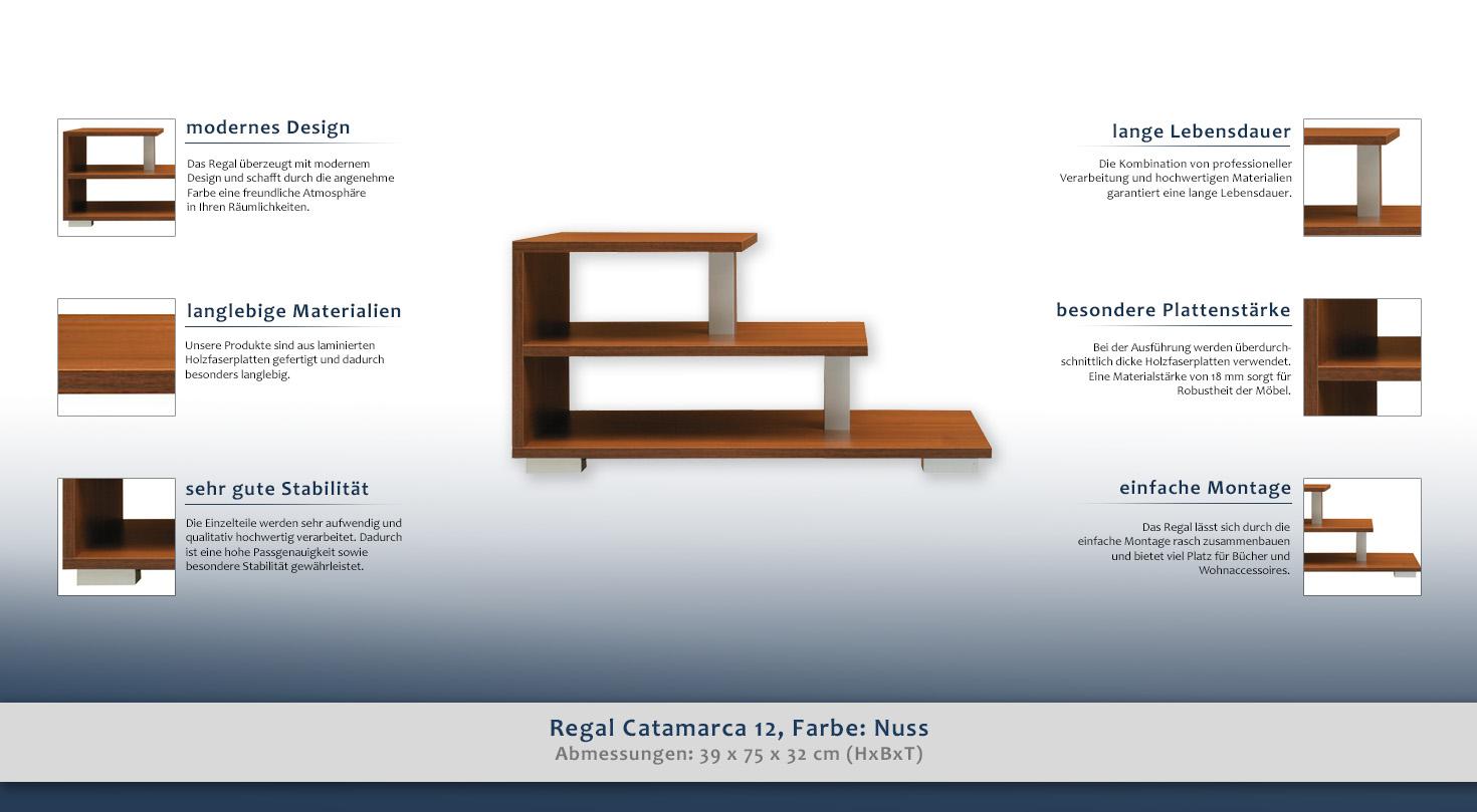 Regal Catamarca 12, Farbe: Nuss - 39 x 75 x 32 cm (H x B x T)