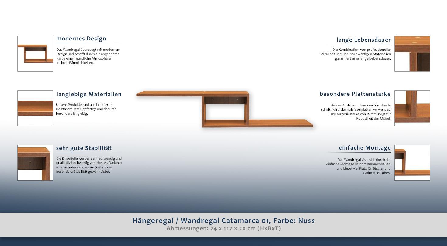 Hängeregal / Wandregal Catamarca 01, Farbe: Nuss - 24 x 127 x 20 cm ...