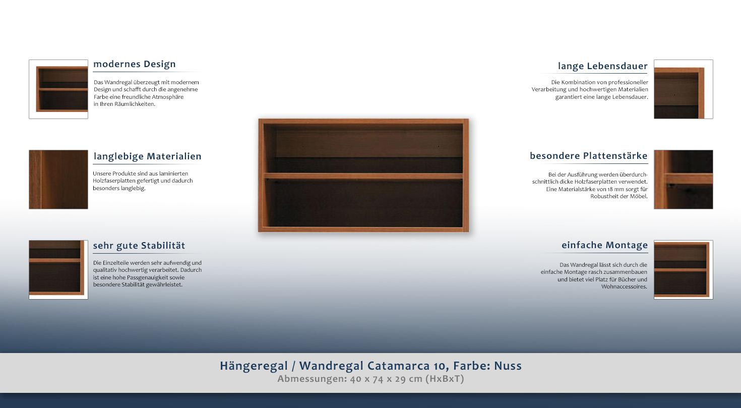 Hängeregal / Wandregal Catamarca 10, Farbe: Nuss - 40 x 74 x 29 cm ...