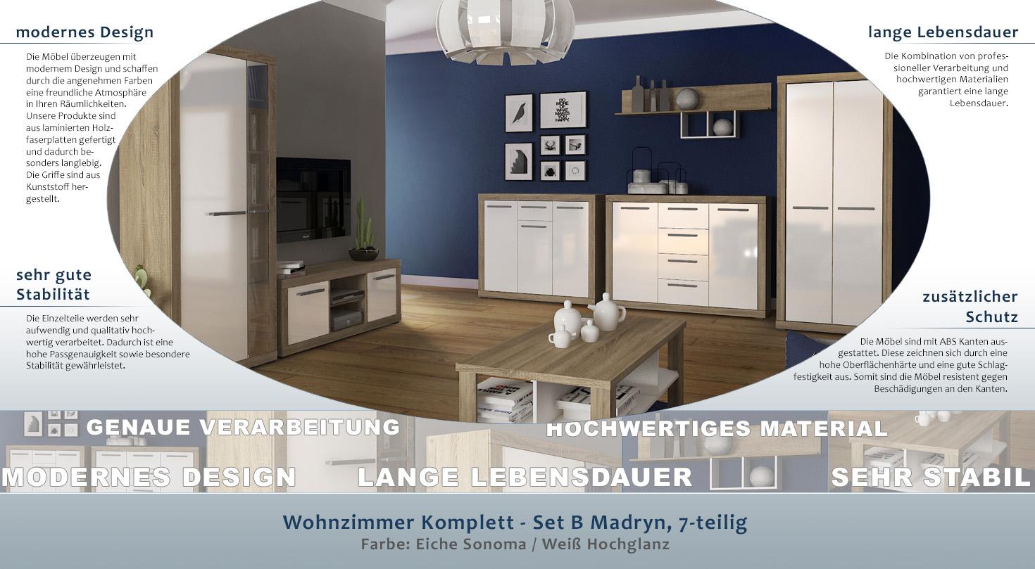 Wohnzimmer Komplett - Set B Madryn, 7-teilig, Farbe: Eiche Sonoma ...