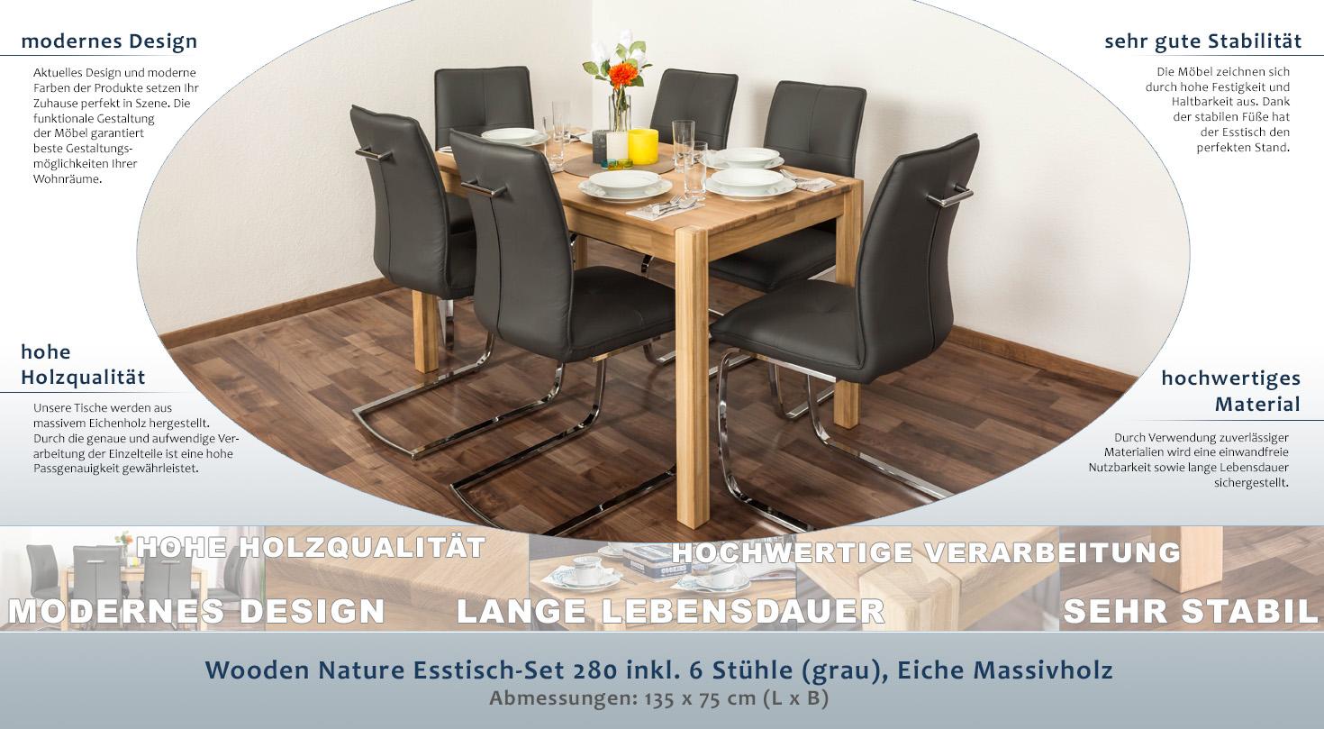 Wooden Nature Esstisch Set 280 Inkl 6 Stühle Grau Eiche