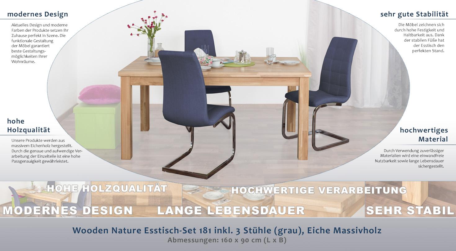 Wooden Nature Esstisch-Set 181 inkl. 3 Stühle (grau), Eiche ...