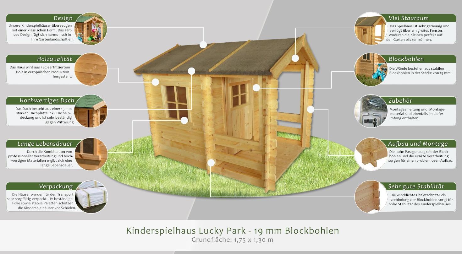 kinderspielhaus lucky park 1 75 x 1 30 meter aus 19 mm. Black Bedroom Furniture Sets. Home Design Ideas
