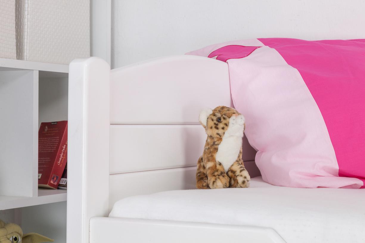 kinderbett jugendbett easy sleep k1 voll 90x200 buche massiv wei ebay. Black Bedroom Furniture Sets. Home Design Ideas