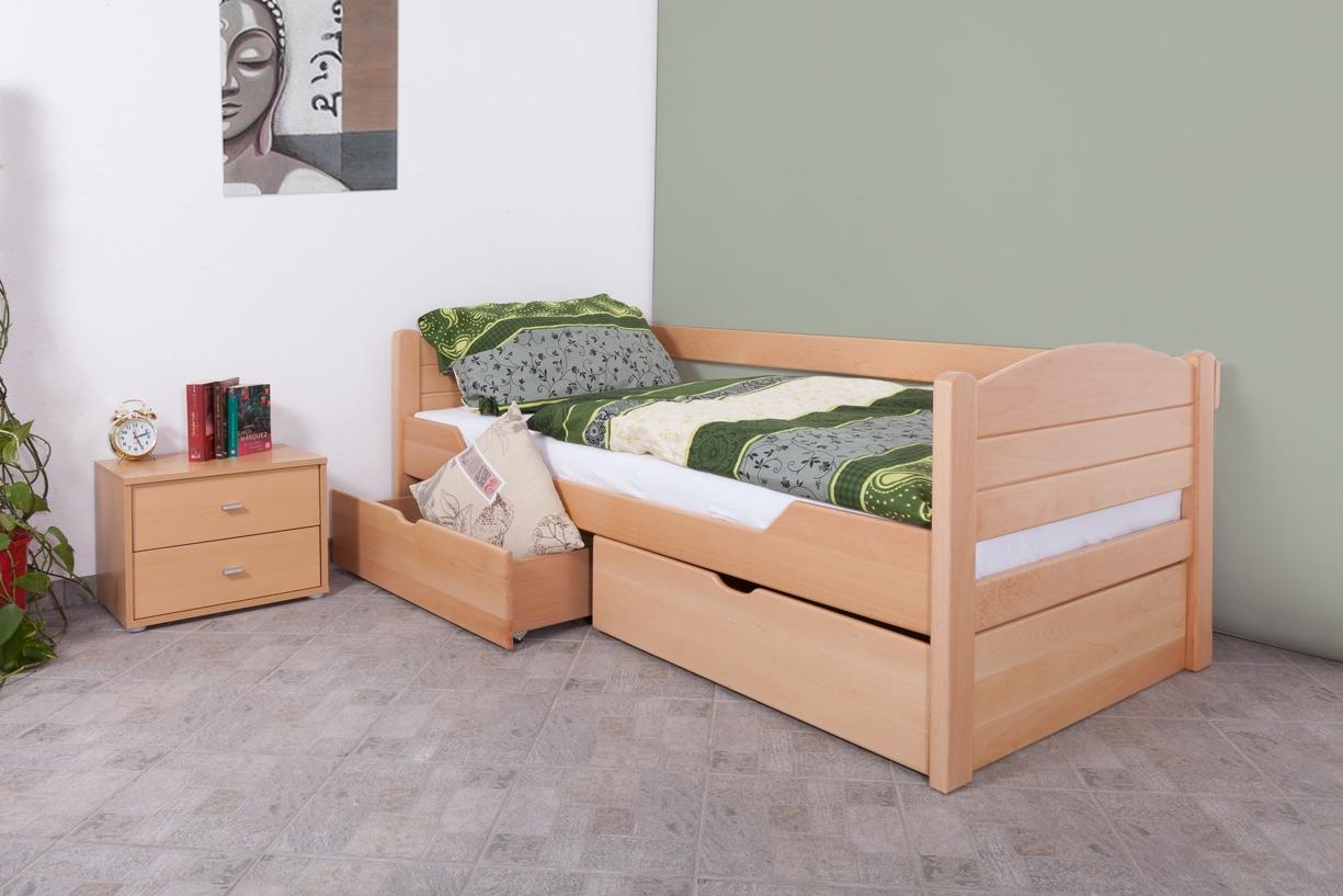 Einzelbett mit schubladen buche  Einzelbett/Funktionsbett K1/s Voll, 2 schubladen, 90x200cm, Buche ...