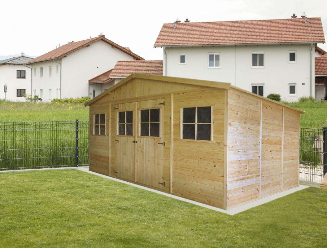 Gartengerätehaus München   4,14 x 3,20 Meter aus 19mm Blockbohlen