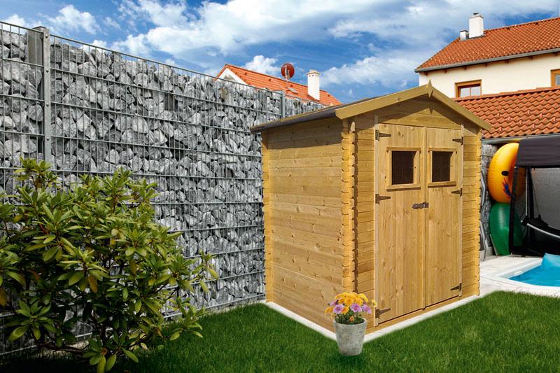 Blockbohlen Gartenhaus 19 mm Wien   L: 200 cm x B: 200 cm   inkl
