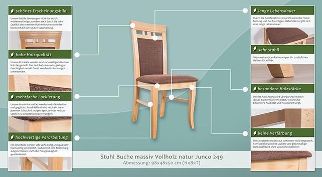 Stuhl Buche Massiv Vollholz Natur Junco 249 Abmessung 98