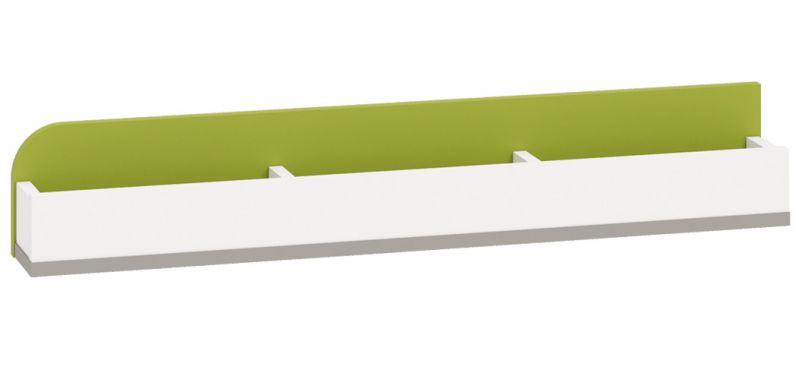 Kinderzimmer - Hängeregal / Wandregal Renton 14, Farbe: Platingrau / Weiß / Grün - Abmessungen: 15 x 92 x 12 cm (H x B x T)