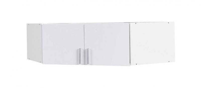 Aufsatz für Drehtürenschrank / Eckkleiderschrank Messini 06, Farbe: Weiß / Weiß Hochglanz - Abmessungen: 40 x 117 x 117 cm (H x B x T)