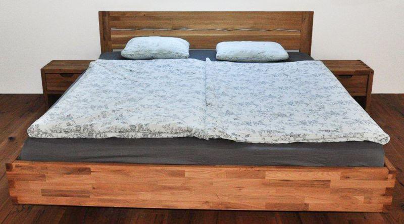 Steckbett / Doppelbett metallfrei Wooden Nature 425, Eiche massiv Natur geölt - 160 x 200 cm (B x L)
