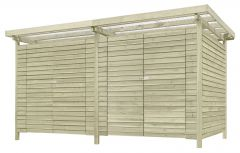 Gerätehaus 12, aus Kiefernholz, FSC® - Außenmaße: 408 x 254 x 225 cm (L x B x H)