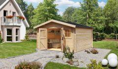 Gartenhaus Isar 2, naturbelassen, 40 mm Wandstärke - 3,87 x 3,87 x 2,53 m (B x T x H)