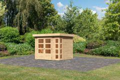 Gartenhaus Locarno 1, naturbelassen, 19 mm Wandstärke - 2,42 x 2,17 x 2,11 m (B x T x H)