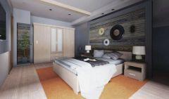 Schlafzimmer Komplett - Set F Kikori, 4-teilig, Farbe: Sonoma Eiche