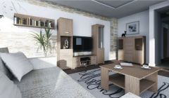 Wohnzimmer Komplett - Set G Kikori, 6-teilig, Farbe: Sonoma Eiche