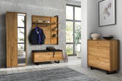 Garderobe Komplett-Set B Belem, 5-teilig, Farbe: Natur, Eiche teilmassiv