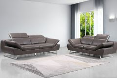 Echtleder Premium Couch Safona, Set (2- und 3-Sitz Sofa), Farbe: Nougat
