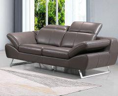 Echtleder Premium Couch Safona, 2-Sitz Sofa, Farbe: Nougat
