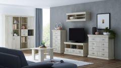 Wohnzimmer Komplett - Set A Wewak, 7-teilig, Farbe: Sonoma Eiche
