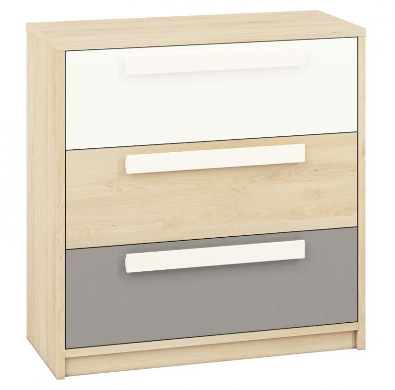 Jugendzimmer - Kommode Greeley 10, Farbe: Buche / Weiß / Platingrau - Abmessungen: 93 x 92 x 40 cm (H x B x T), mit 3 Schubladen