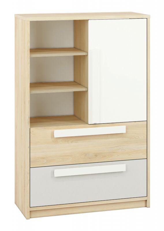 Jugendzimmer - Kommode Greeley 07, Farbe: Buche / Weiß / Hellgrau - Abmessungen: 140 x 92 x 40 cm (H x B x T), mit 1 Tür, 2 Schubladen und 6 Fächern