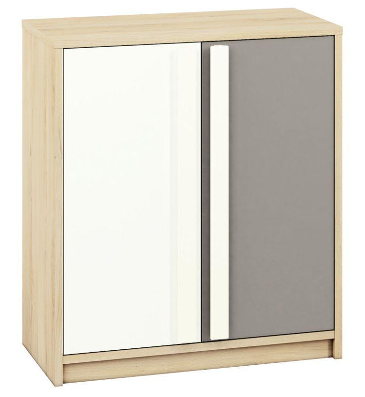 Jugendzimmer - Kommode Greeley 09, Farbe: Buche / Weiß / Platingrau - Abmessungen: 93 x 83 x 40 cm (H x B x T), mit 2 Türen und 2 Fächern